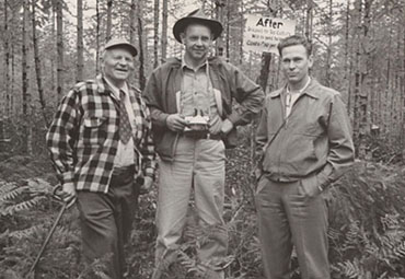Extension Foresters Metcalf of California, Lunnum of Washington, and Goodmonson of Oregon at Christmas tree meeting, 1952